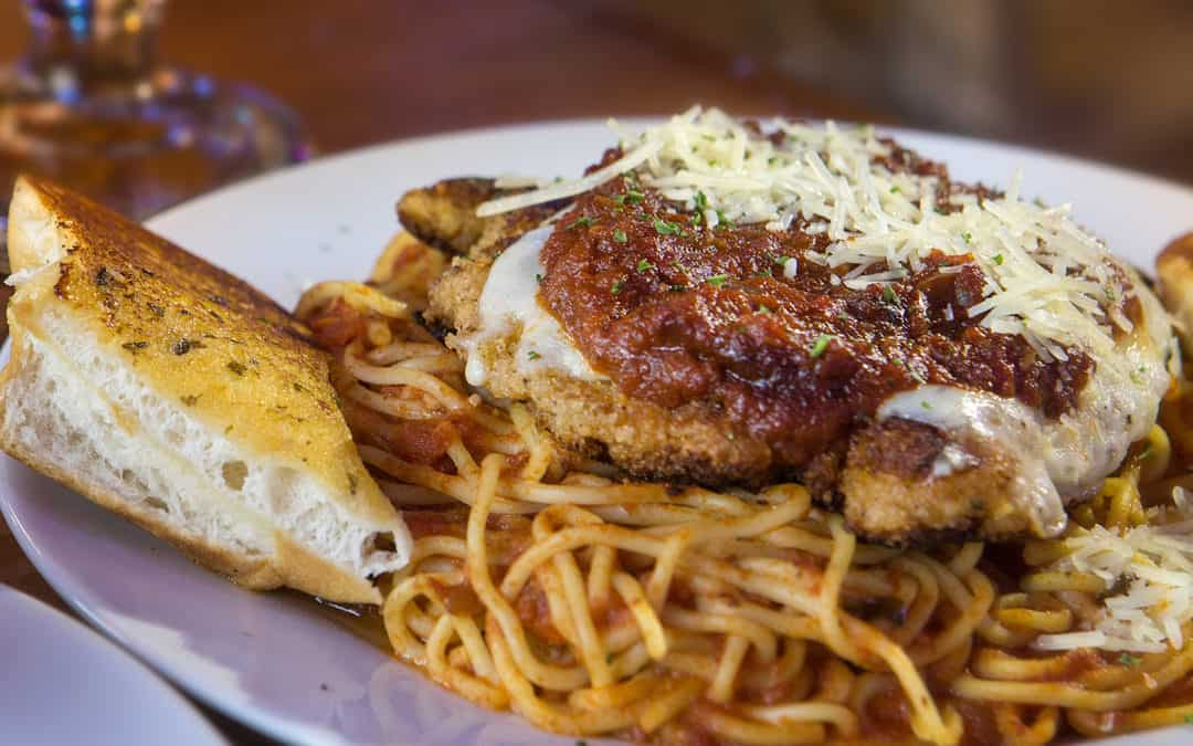 Chicken Parmesan Spaghetti with Italian Green Beans and Garlic Bread